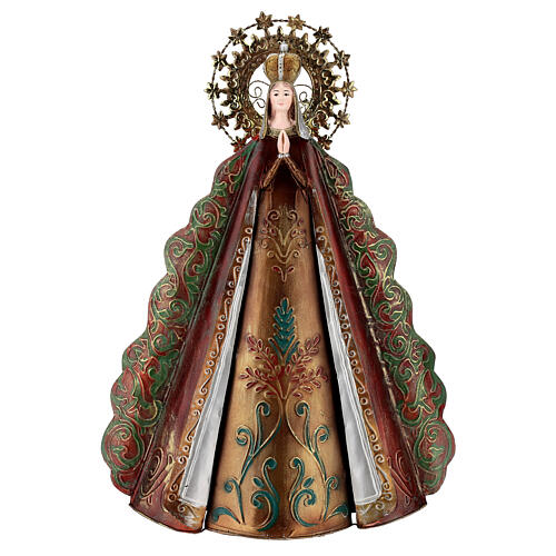 Estatua Virgen aureola estrellas corona metal h 51 cm 1
