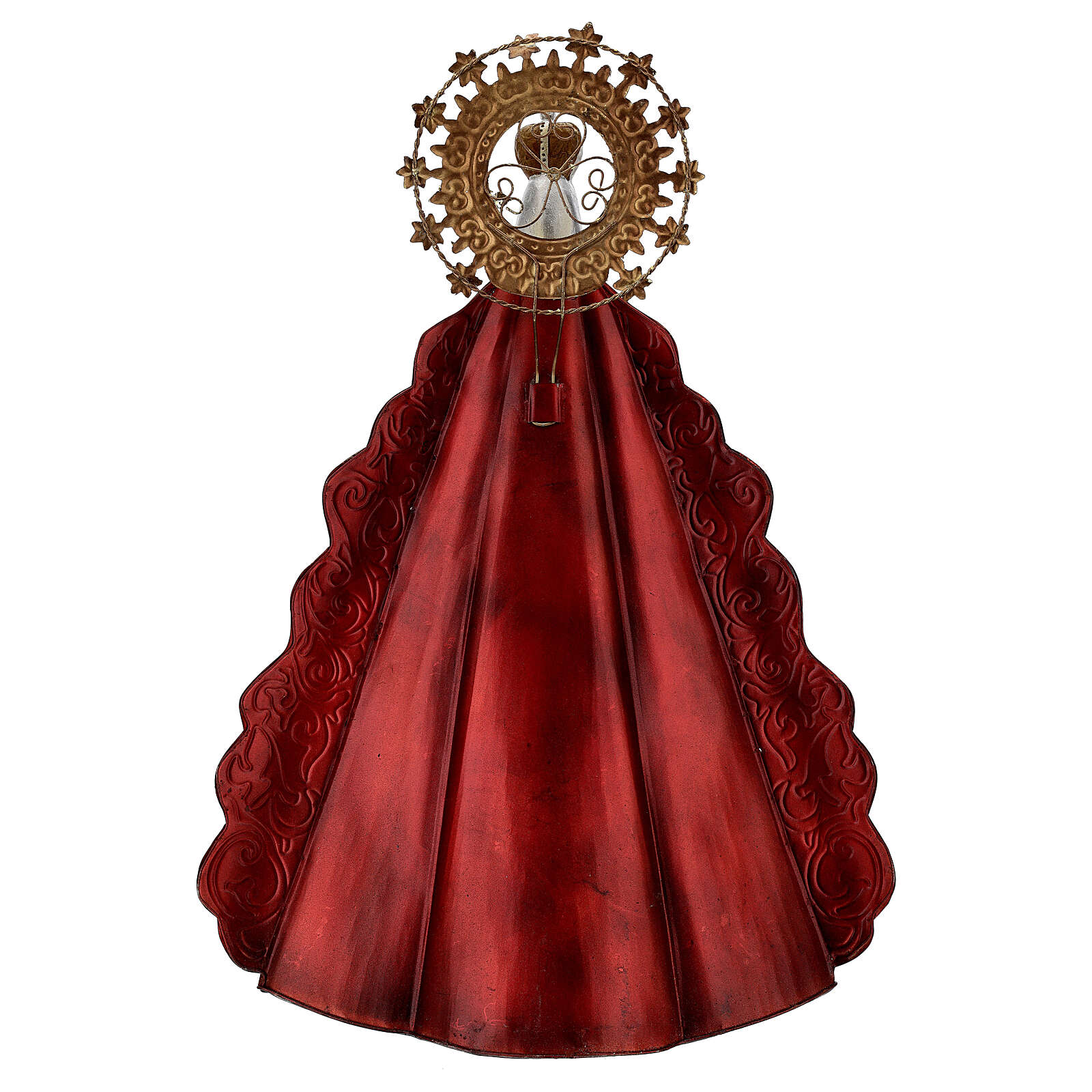 Statue Sainte Vierge auréole étoiles couronne métal h 51 cm 3