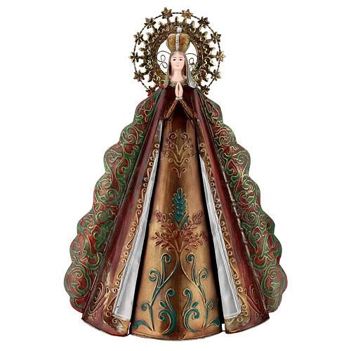 Statue Sainte Vierge auréole étoiles couronne métal h 51 cm 1