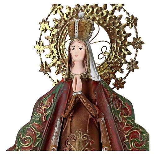 Statue Sainte Vierge auréole étoiles couronne métal h 51 cm 2