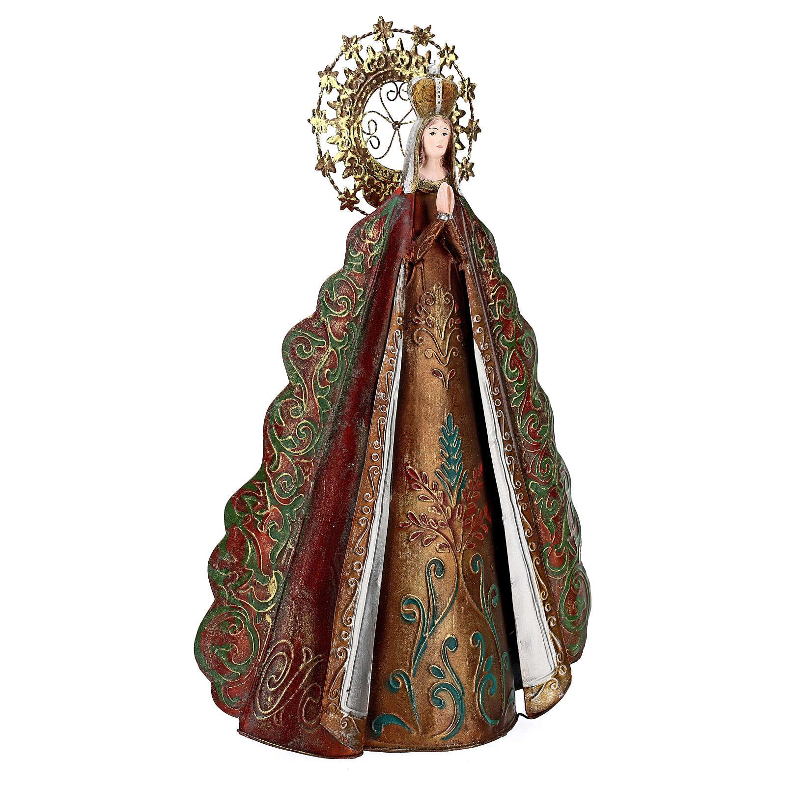 Statua Madonna aureola stelle corona metallo h 51 cm 3