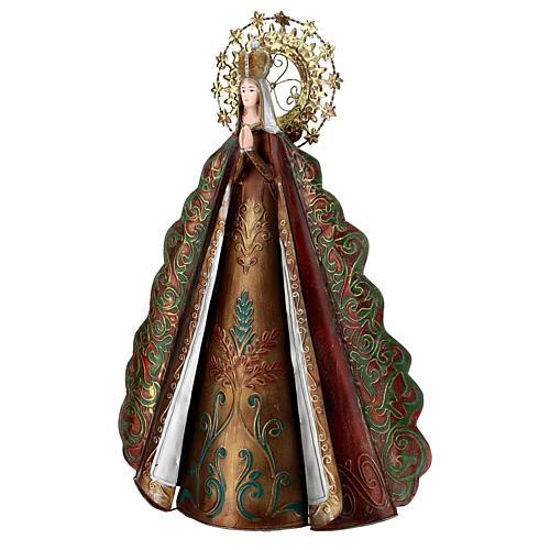 Statua Madonna aureola stelle corona metallo h 51 cm 4