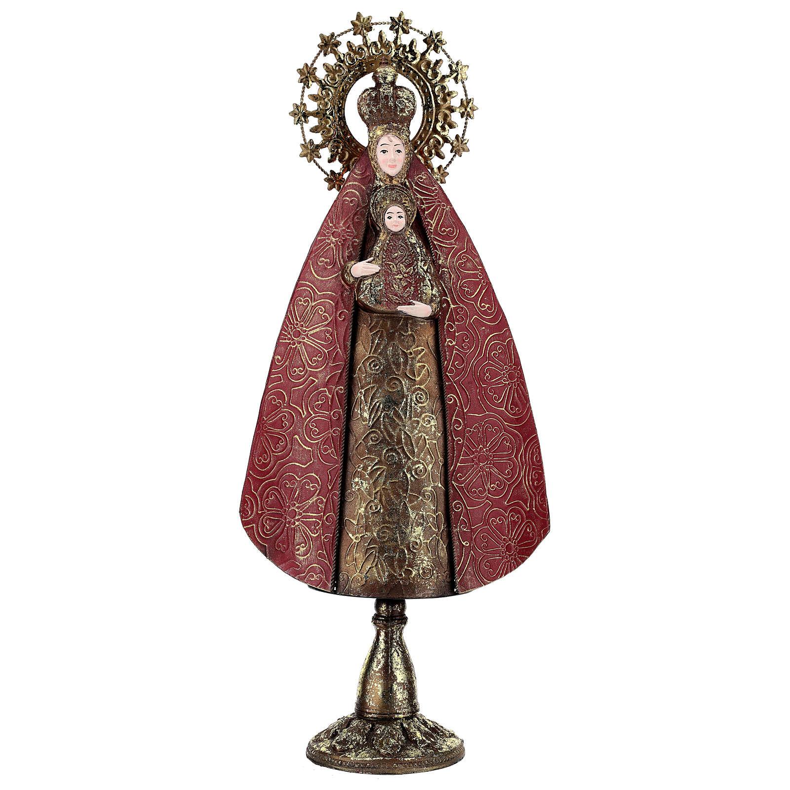 Virgen con Niño rojo oro estatua metal h 57 cm 3
