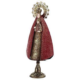 Madonna con Bambino rosso oro statua metallo h 57 cm s3