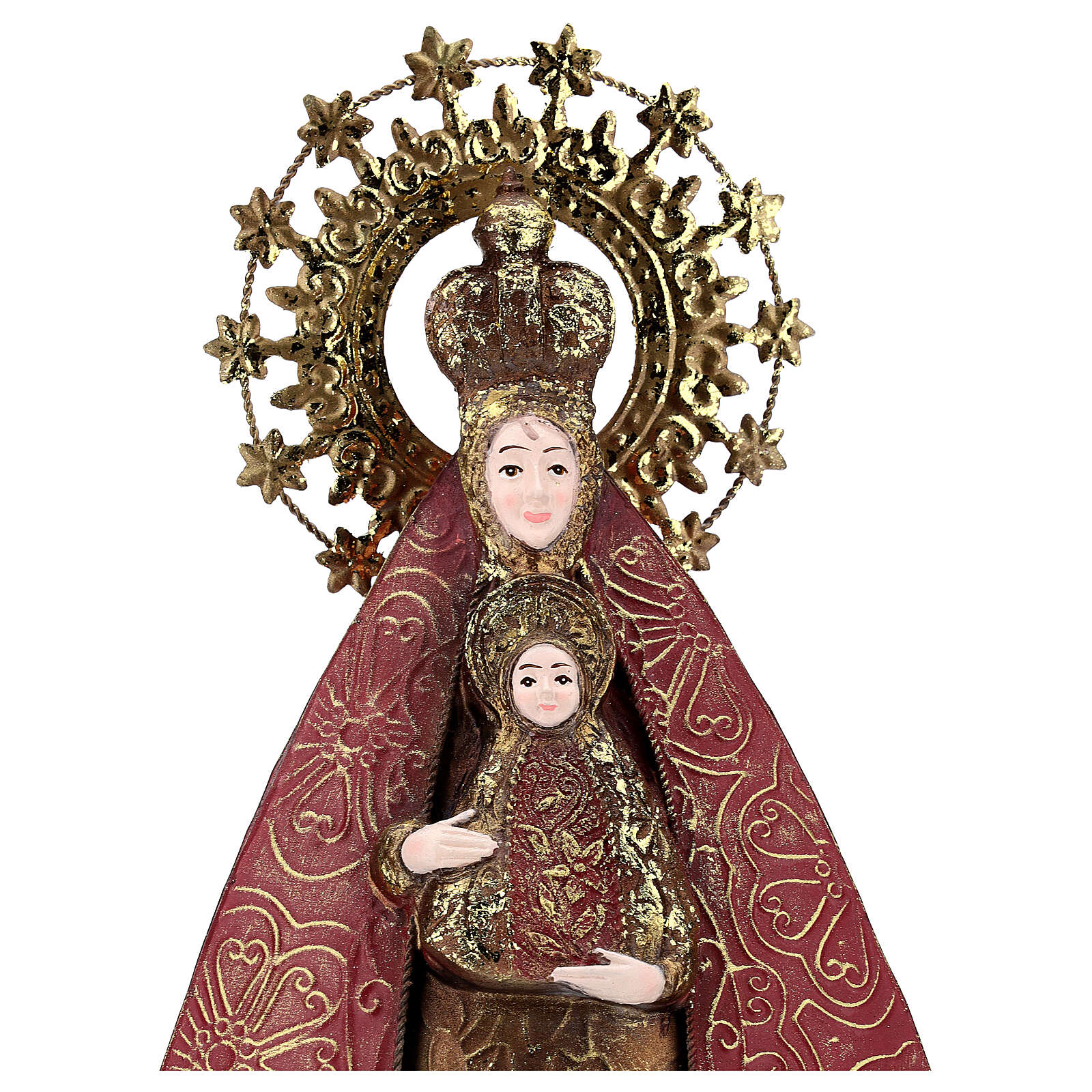 Mother Mary with Baby Jesus statue in metal, h 57 cm 3