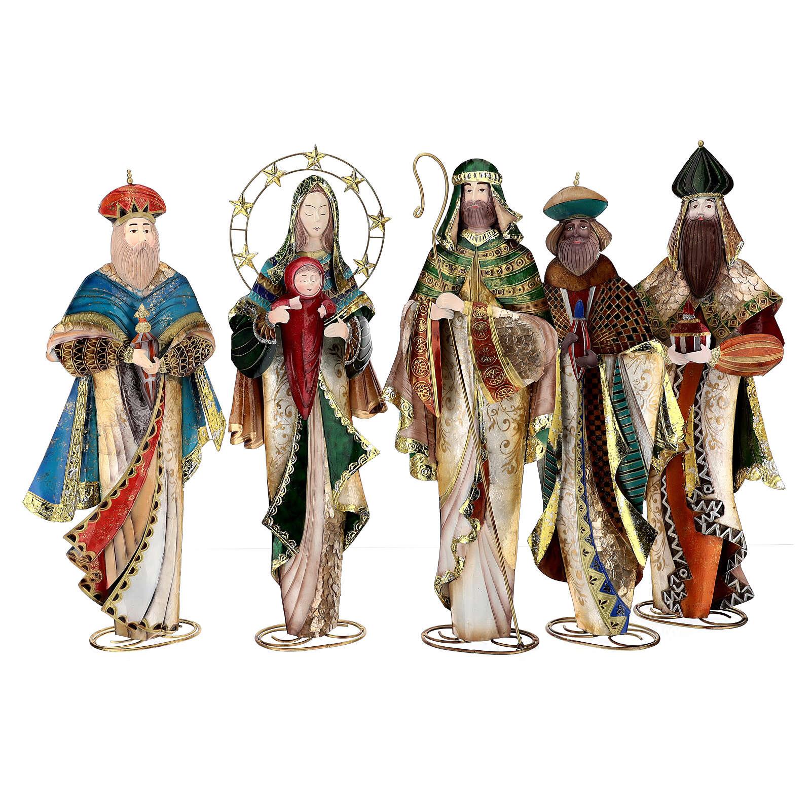 Presépio de Natal Natividade estilizada em metal com Reis Magos 63x25x10 cm 4