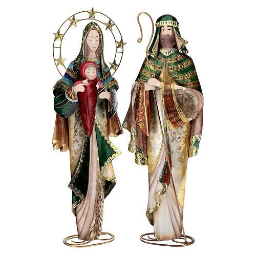 Presépio de Natal Natividade estilizada em metal com Reis Magos 63x25x10 cm 3