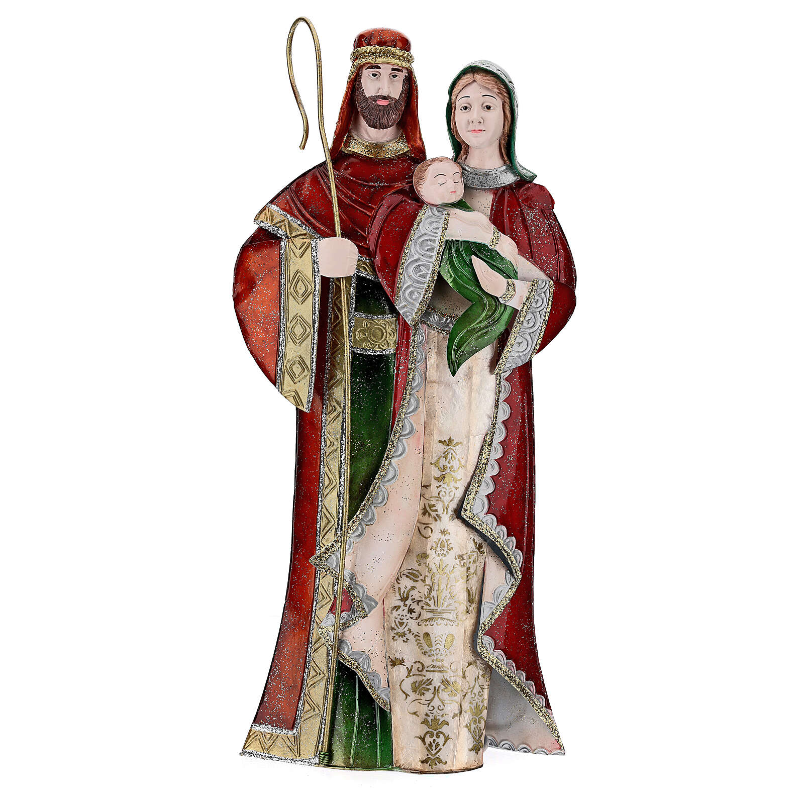 Holy Family statue green white and red metal 48 cm 4