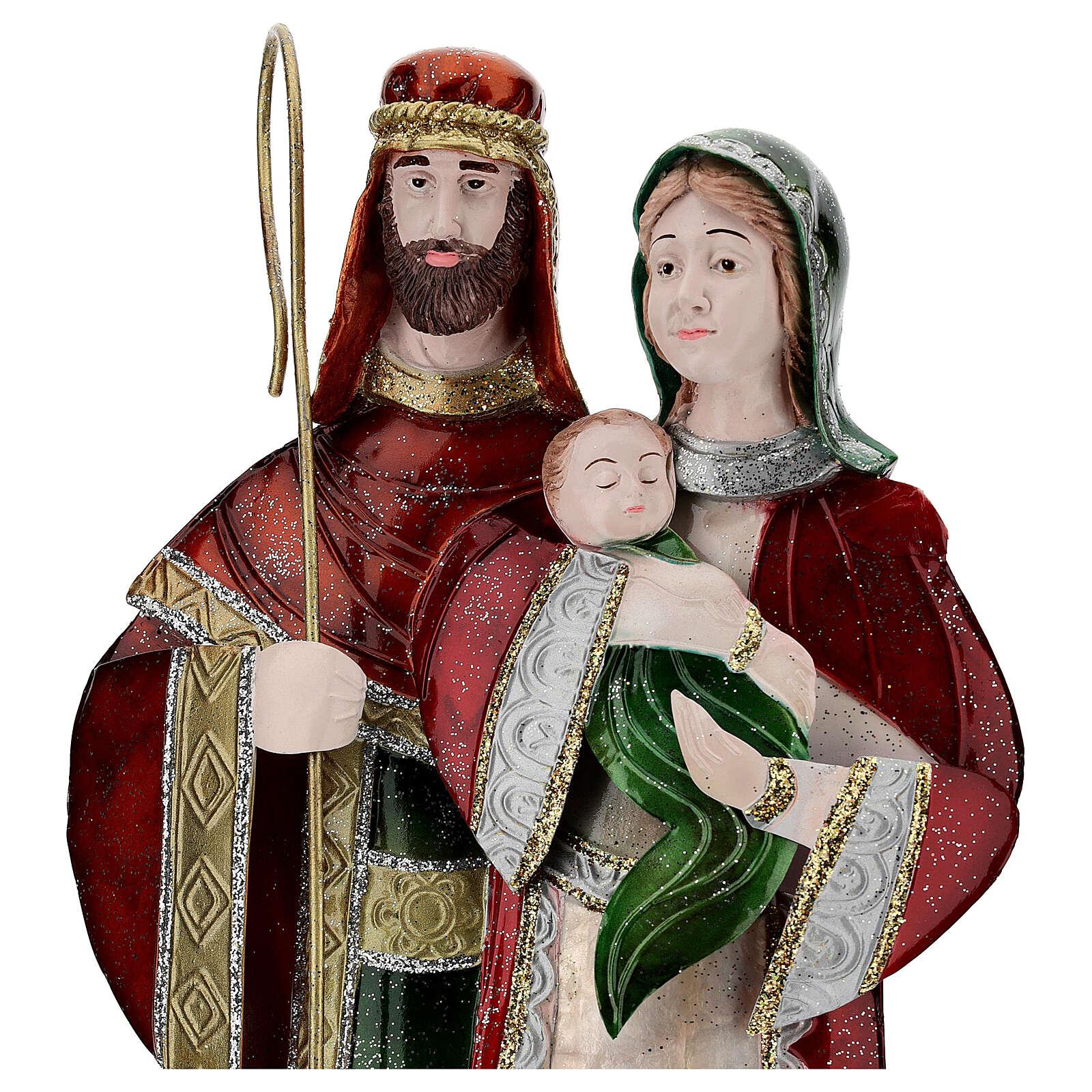 Statua Sacra Famiglia verde bianco rosso metallo 48 cm 4