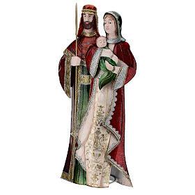 Statua Sacra Famiglia verde bianco rosso metallo 48 cm s3