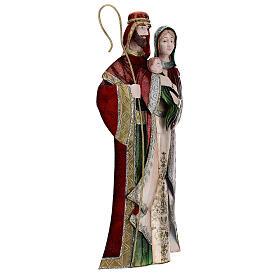 Statua Sacra Famiglia verde bianco rosso metallo 48 cm s4