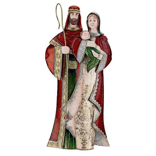 Statua Sacra Famiglia verde bianco rosso metallo 48 cm 1