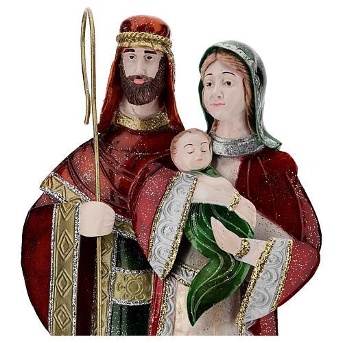 Statua Sacra Famiglia verde bianco rosso metallo 48 cm 2