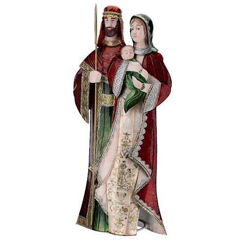Statua Sacra Famiglia verde bianco rosso metallo 48 cm 3