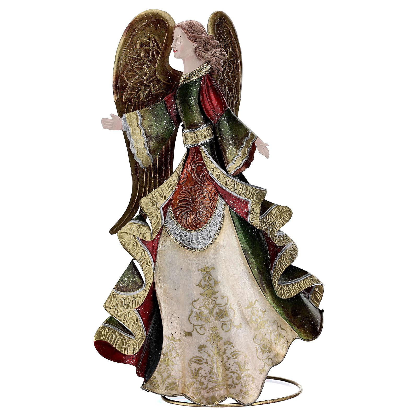 Anjo andando metal decoração dourada 36 cm 4