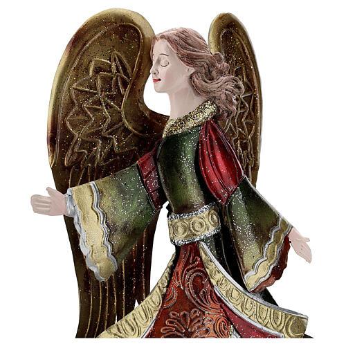 Anjo andando metal decoração dourada 36 cm 2