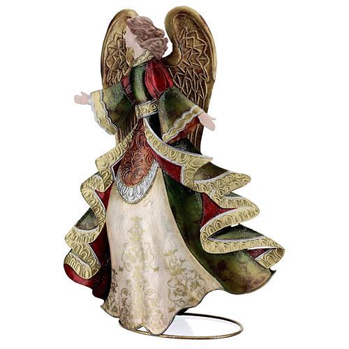 Anjo andando metal decoração dourada 36 cm 3