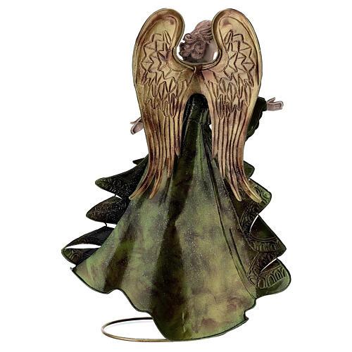 Anjo andando metal decoração dourada 36 cm 5