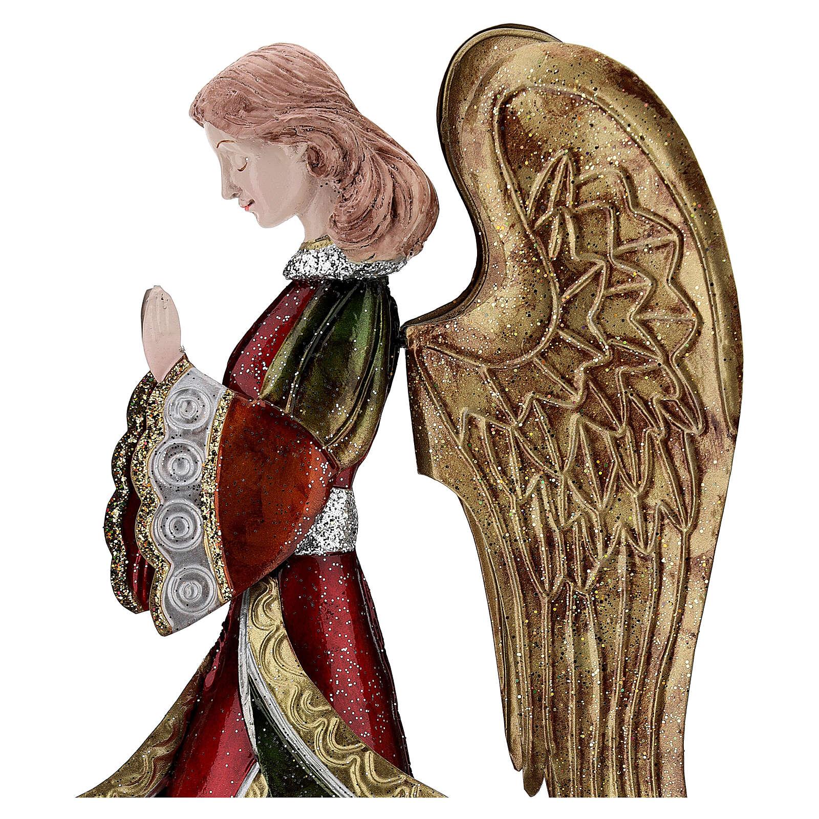 Angelo in preghiera statua metallo 36 cm 4