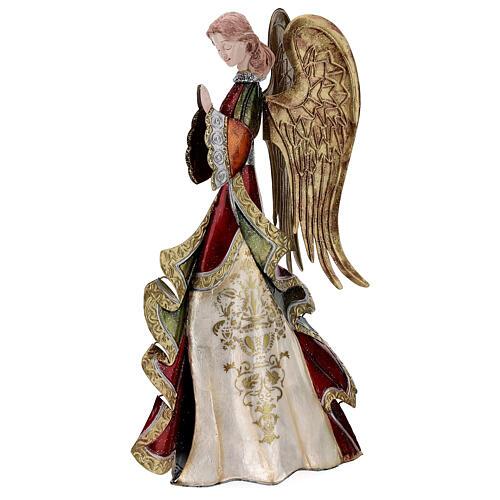 Angelo in preghiera statua metallo 36 cm 3