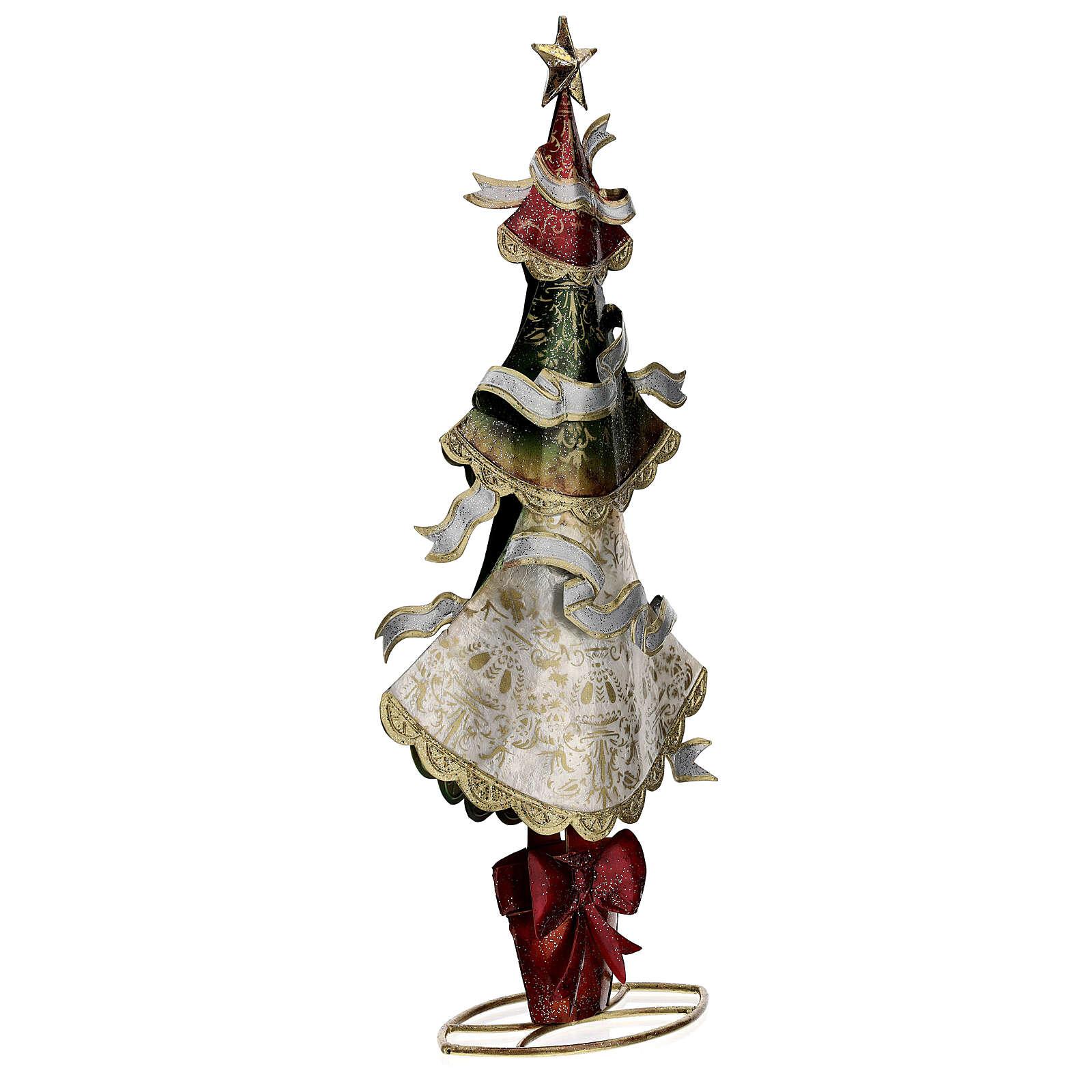 Albero natale nastri tricolore statua metallo 45 cm 3