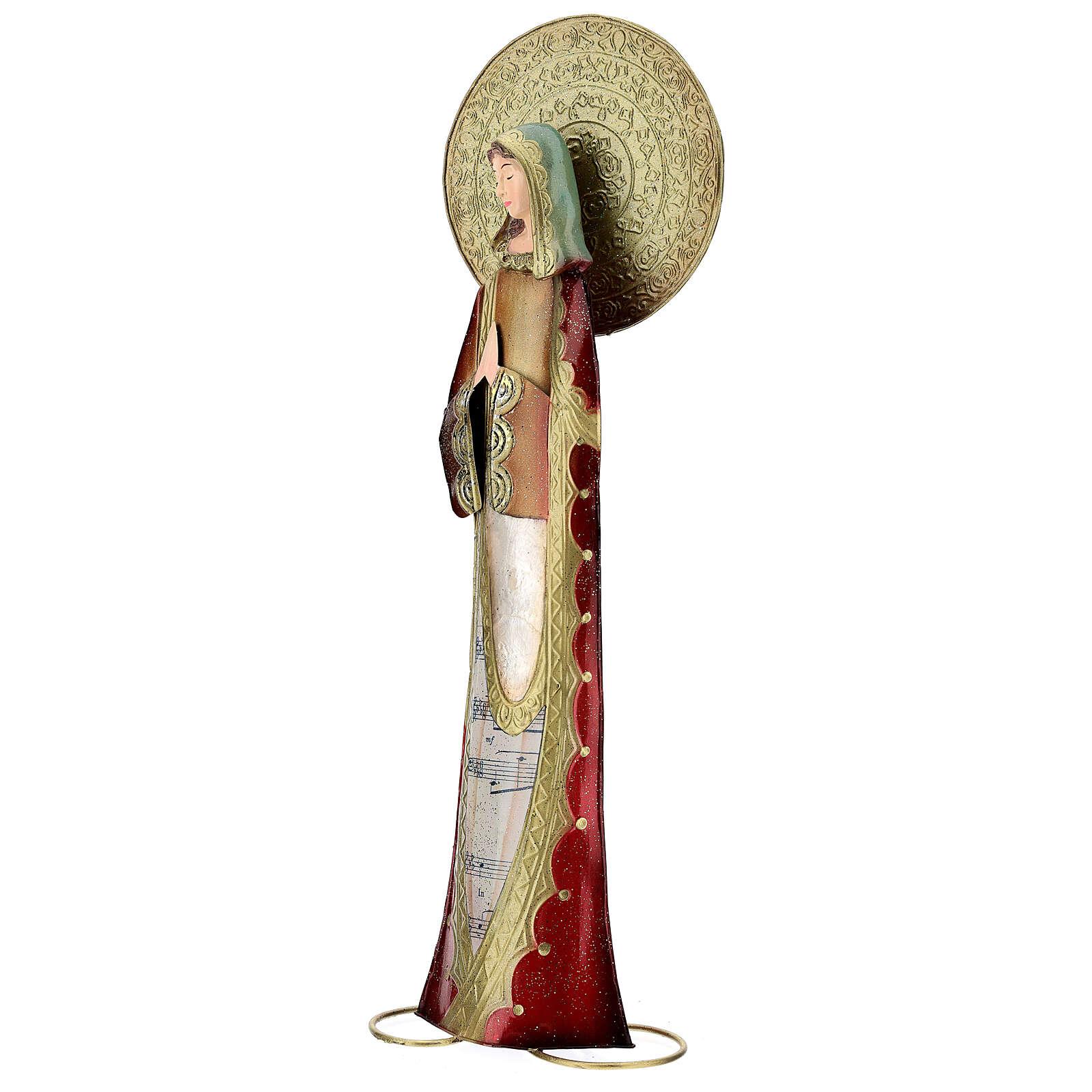 Virgen rojo oro oración metal h 52 cm 3