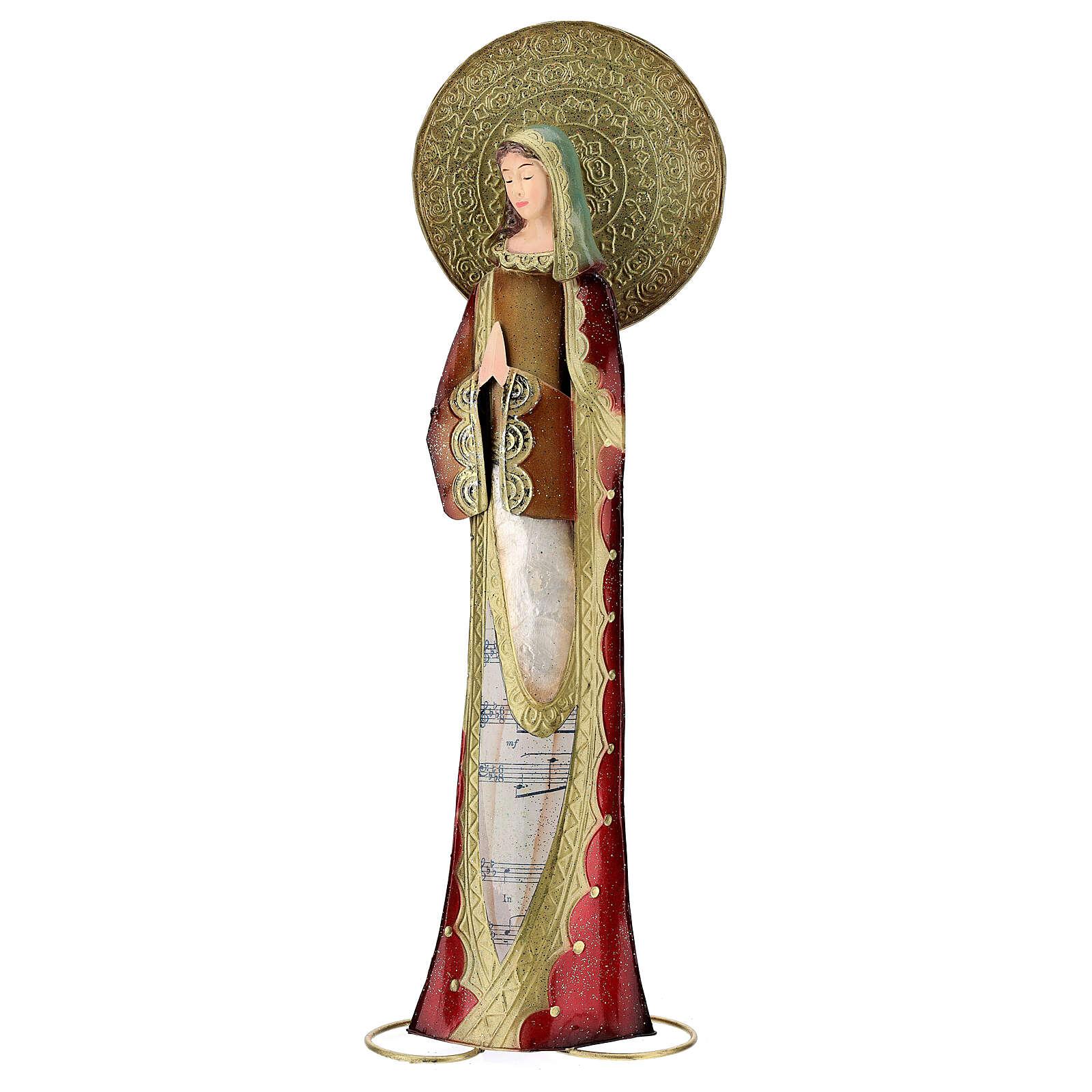 Madonna rosso oro preghiera metallo h 52 cm 3