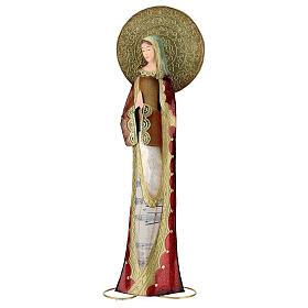 Madonna rosso oro preghiera metallo h 52 cm s1
