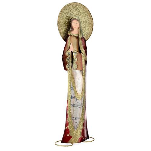 Madonna rosso oro preghiera metallo h 52 cm 4