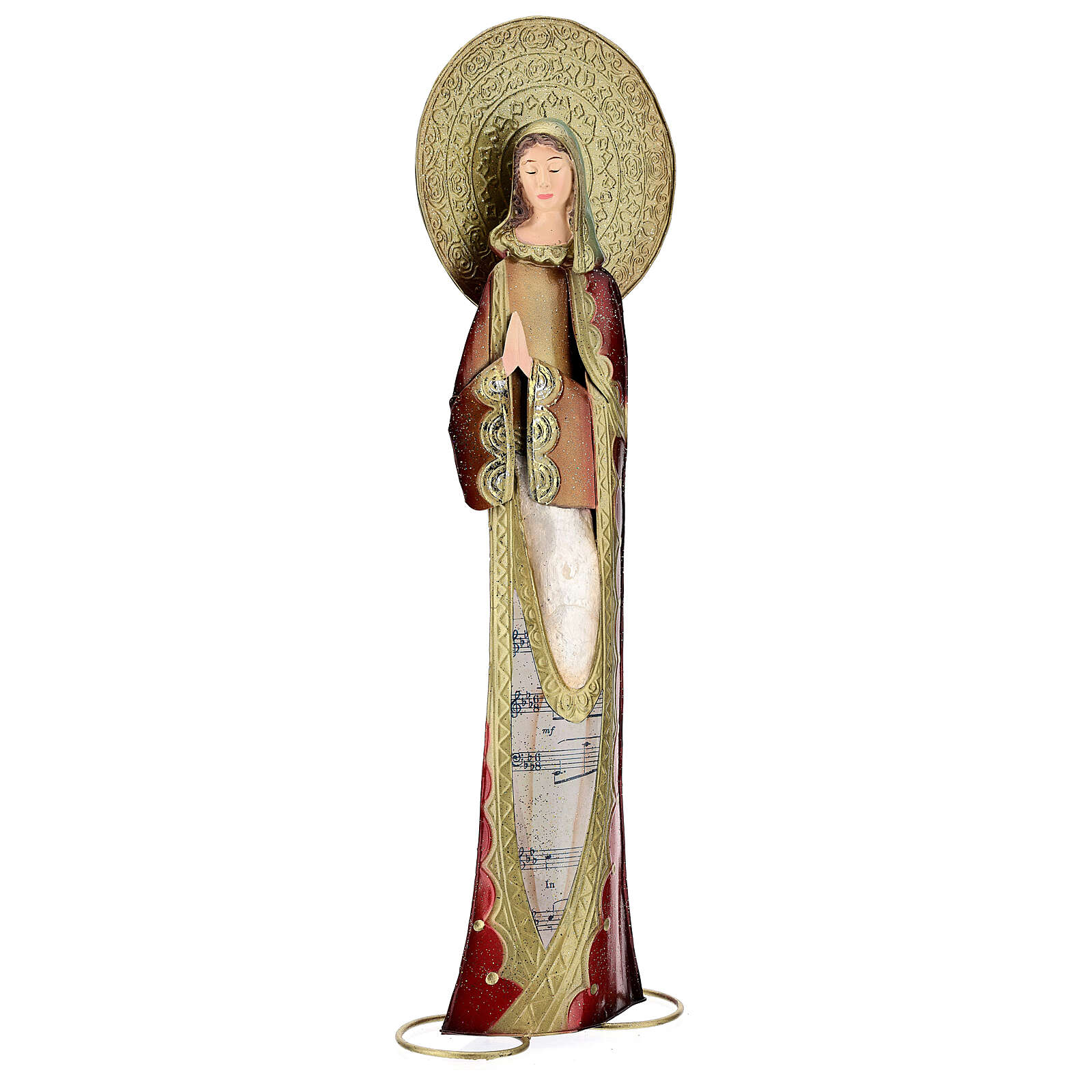 Mary statue in red and gold, metal h 52 cm 3
