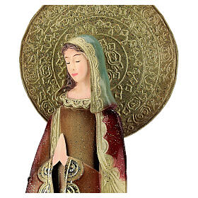 Mary statue in red and gold, metal h 52 cm s2