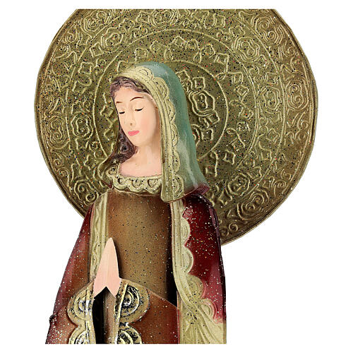 Mary statue in red and gold, metal h 52 cm 2