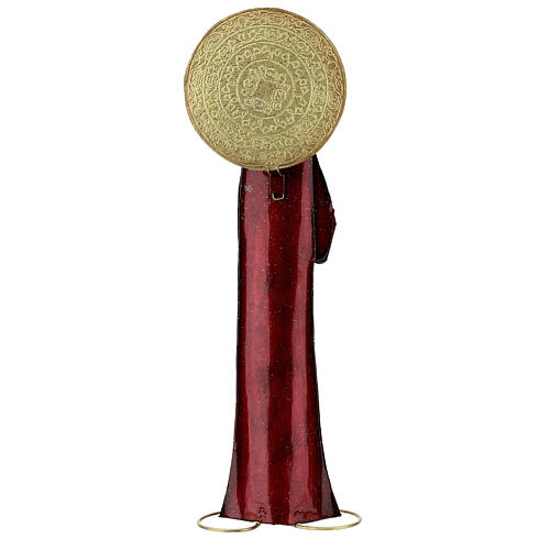 Mary statue in red and gold, metal h 52 cm 5