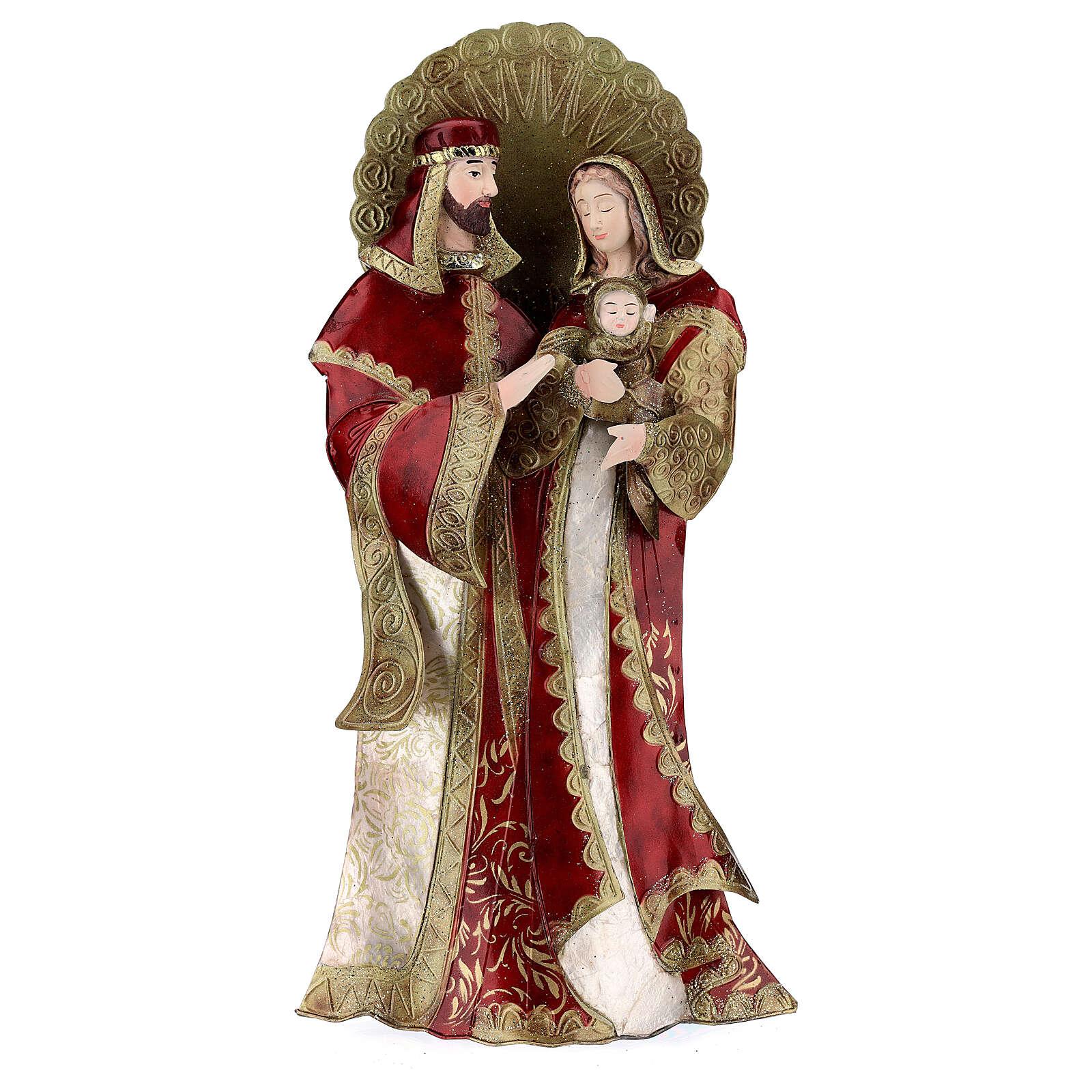 Sacra Famiglia rosso oro statua metallo h 49 cm 4