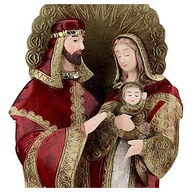 Holy Family statue in metal, gold red h 49 cm s2