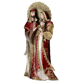 Holy Family statue in metal, gold red h 49 cm s3