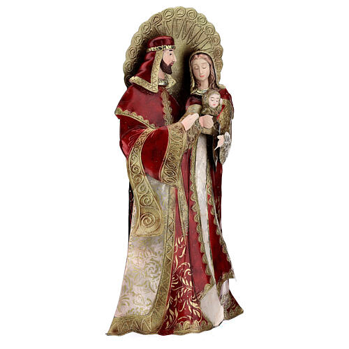 Holy Family statue in metal, gold red h 49 cm 4