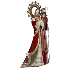 Holy Family figurine in metal red with staff notes 30x15x10 cm s4