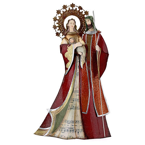 Holy Family figurine in metal red with staff notes 30x15x10 cm 1