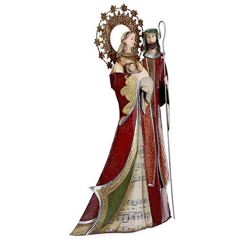 Holy Family figurine in metal red with staff notes 30x15x10 cm 4