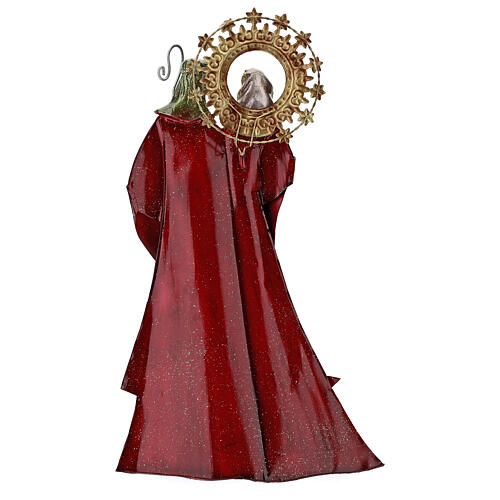 Holy Family figurine in metal red with staff notes 30x15x10 cm 5