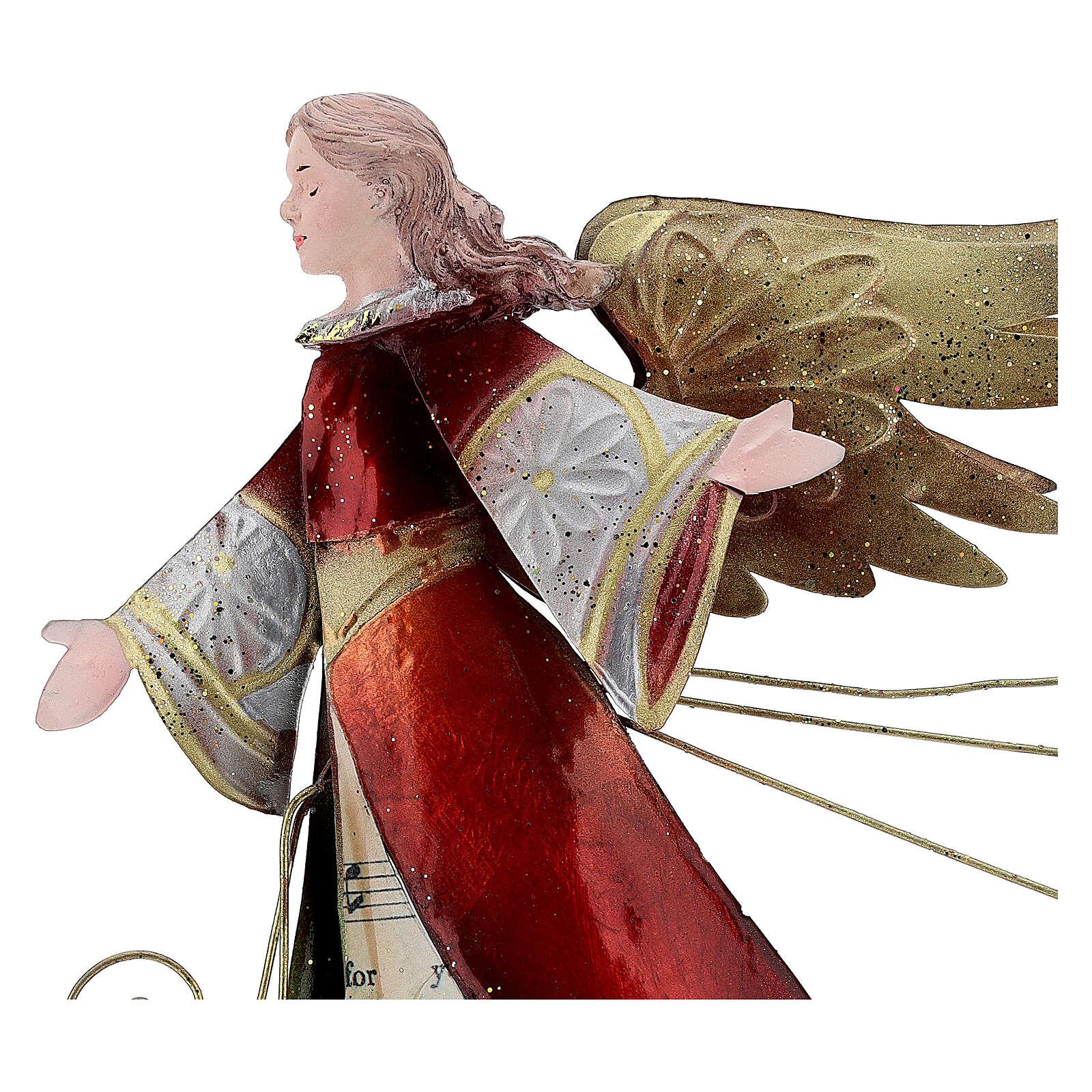 Angelo con pergamena stilizzato metallo 28 cm 4