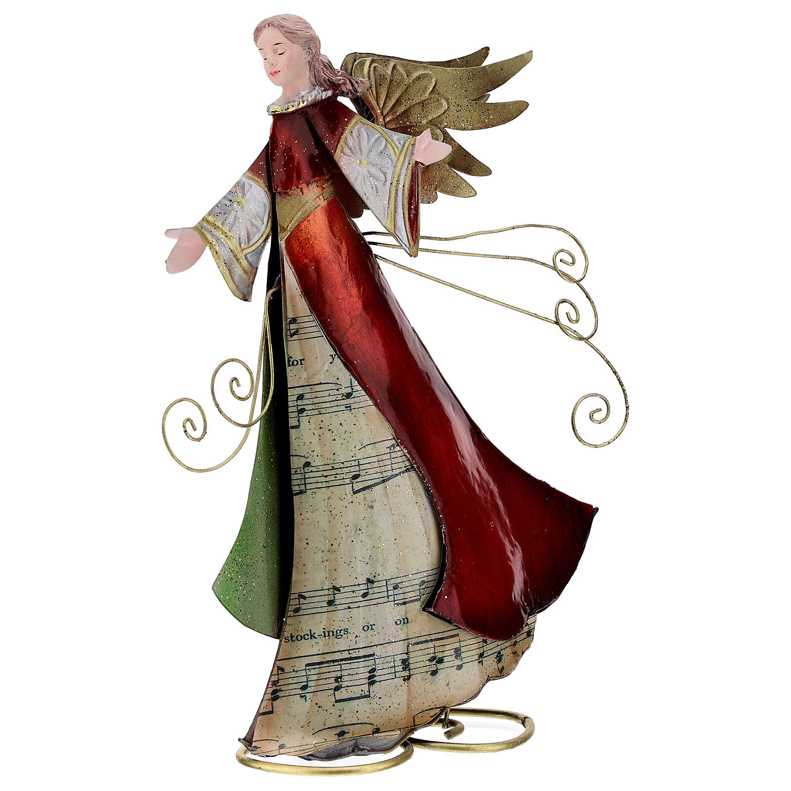 Metal angel statue with scroll stylized, 28 cm 4