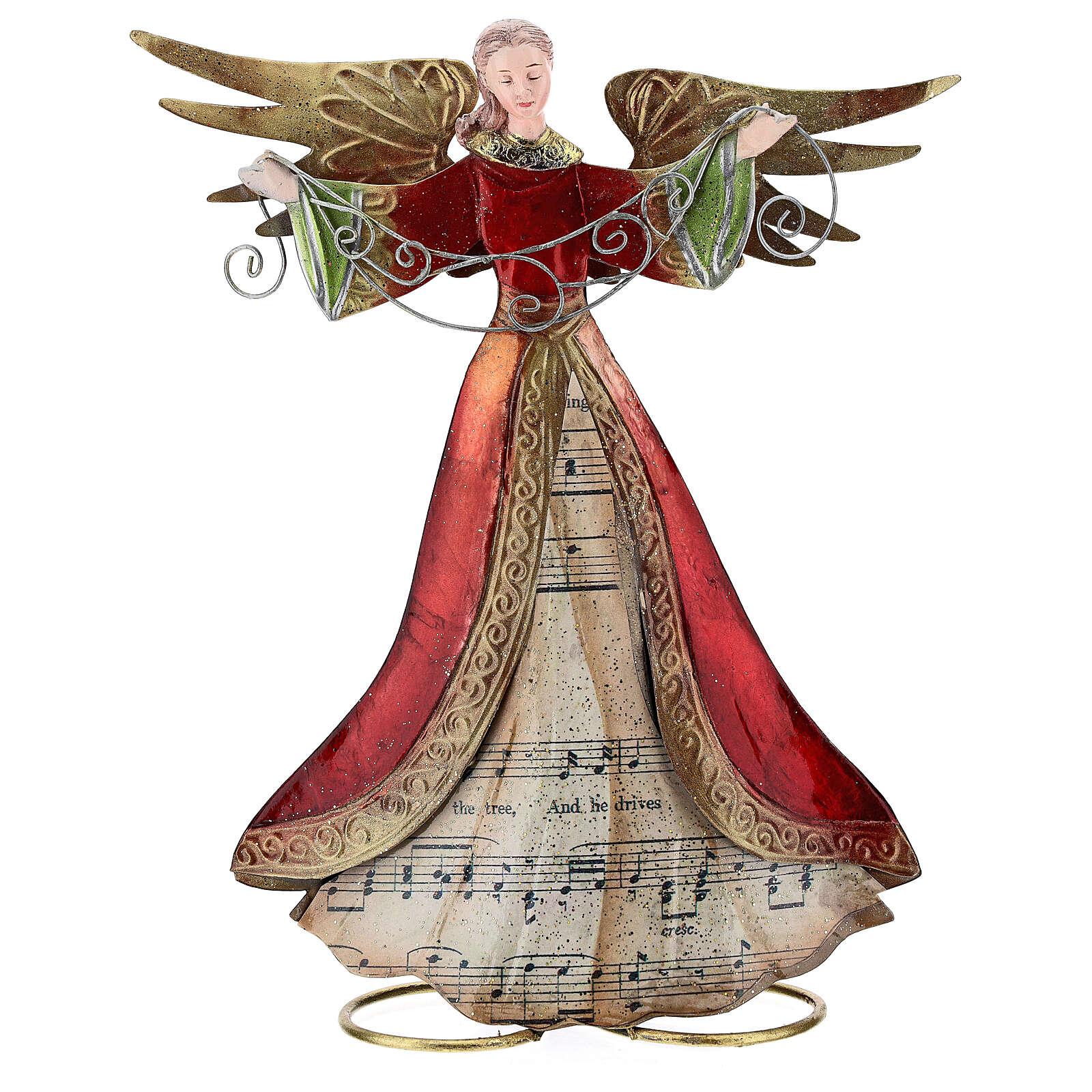 Ángel brazos abiertos metal partitura 28 cm 4