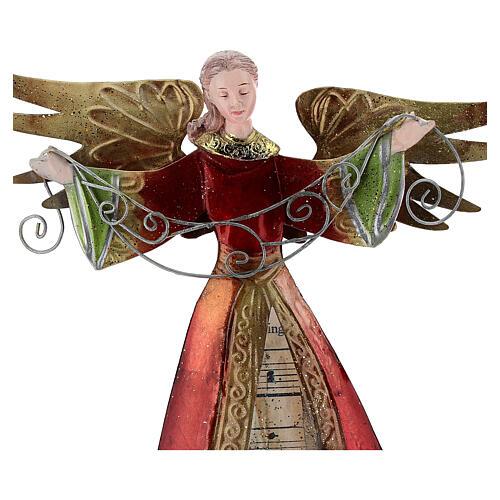 Ángel brazos abiertos metal partitura 28 cm 2