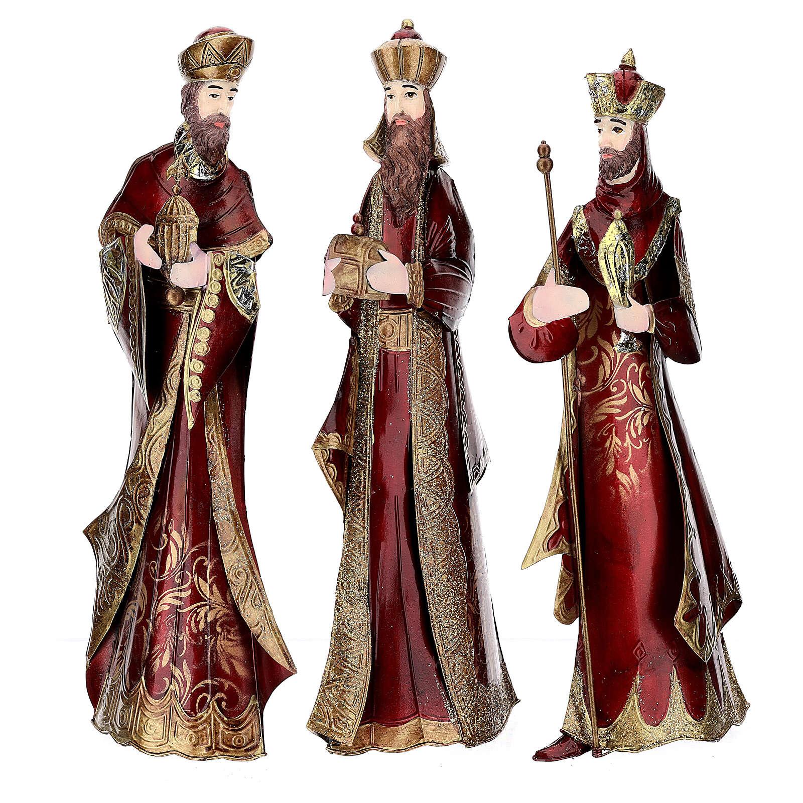 Natividad 5 estatuas rojo oro metal h 44 cm 4