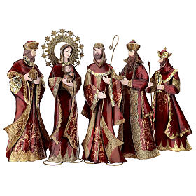 Natividad 5 estatuas rojo oro metal h 44 cm s1