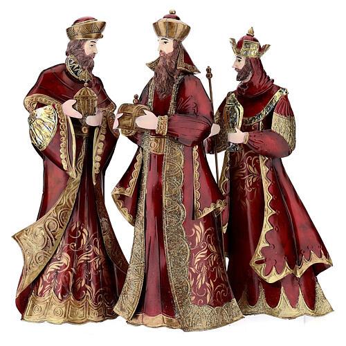 Natividad 5 estatuas rojo oro metal h 44 cm 5