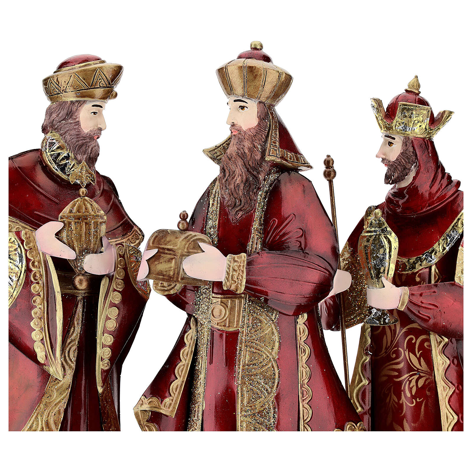 Natività 5 statue rosso oro metallo h 44 cm 4