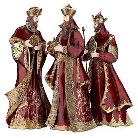 Natività 5 statue rosso oro metallo h 44 cm s5